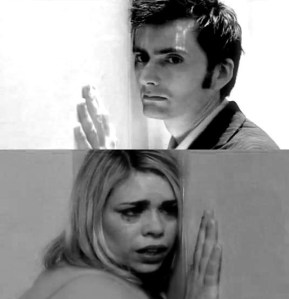 The Doctor and Rose, separated by a universe.