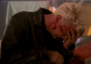 Spike crying desperately over Buffy's death.